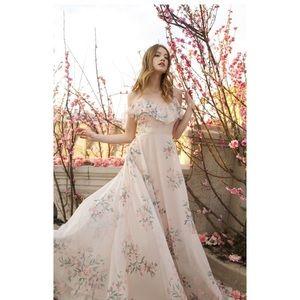 NEW! Jenny Yoo Mila Ruffle Shoulder Chiffon Dress